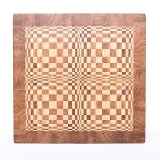 Кухонная торцевая разделочная доска LineWood 3D из дуба и клена 37х37х4 см