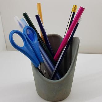 Стакан для ручек и карандашей из бетона - серый с голубым