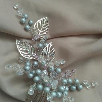 Гребешок в прическу невесты, серо-голубого цвета, свадебный гребешок