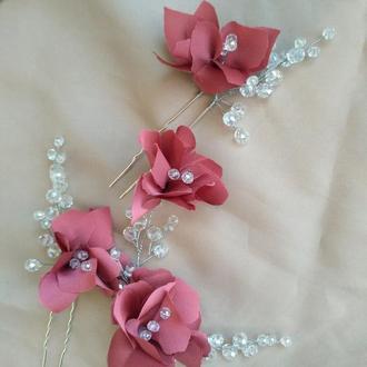 Украшения в прическу, белые цветы в волосы на заколке, цветы в прическу