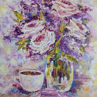 "Картина ""Сиреневая нежность"" букет сирени и роз"