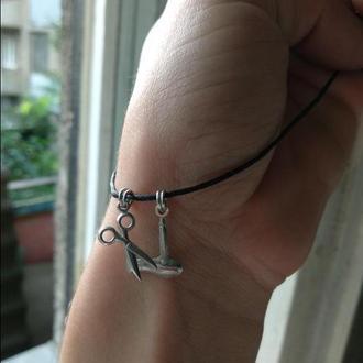 Підвіски, шарми на браслет зі срібла, у вигляді ножниць і фена, чудовий подарунок для перукарів