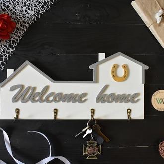 "Ключница - домик с подковой  ""Welcome home"""