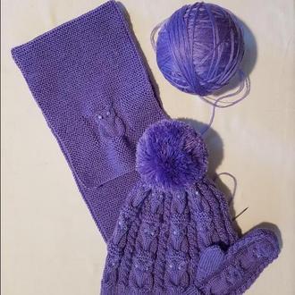 Вязаные детский шарф, шапка и рукавицы с совами