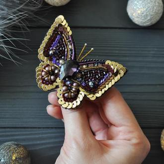 "Броши ""бабочка фиолет"""