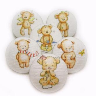 Пуговицы ручной работы Мишки Тедди для декора детской одежды