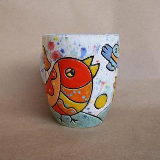 """Чашка """"Птахи"""". Керамічне горнятко з пташками"""