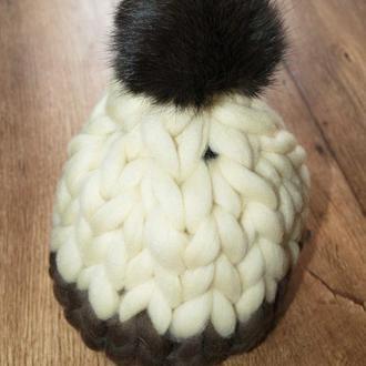 Шапка из толстой мериносовой шерсти