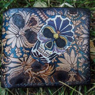Портмоне, кожаное портмоне, кошелёк с черепом, кожаный кошелёк с черепами, подарок