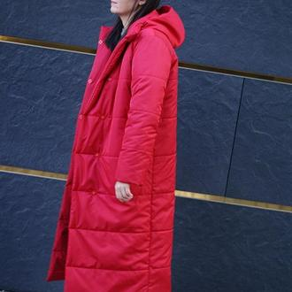 Женское зимнее пальто стеганое с утеплителем
