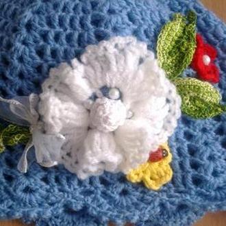 Детская шапочка с цветком