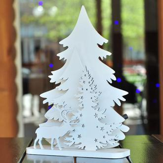 """Деревянный ночник, светильник """"Зимний лес"""", Новогодний ночник"""
