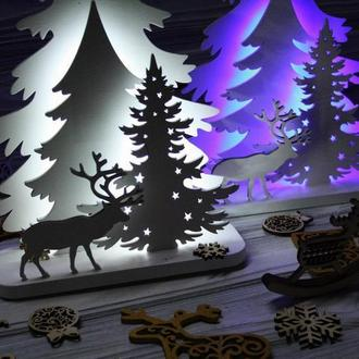 """Дерев'яний нічник, світильник """"Зимовий ліс"""", Новорічний нічник"""
