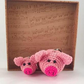 Пара поросят, вязаная свинка, елочная игрушка хрюшка, символ нового 2019 года