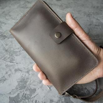 Мужской кожаный кошелек клатч Longer full brown
