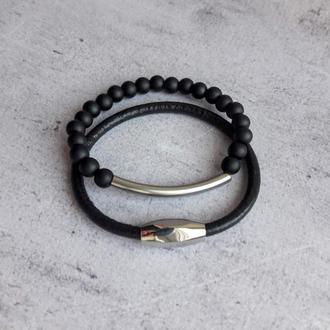 Сет из кожаного браслета и браслета из натуральных камней со стальной фурнитурой
