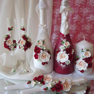 """Свадебный набор """"Королевский шик"""" в бордовых и айвори цветах"""