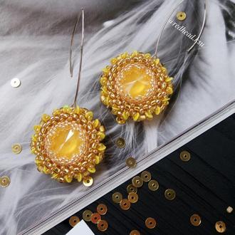 Серьги бубочки Лимонного Swarovski