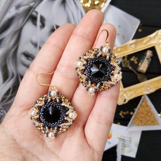 Серьги кружевные Классика чёрное золото Swarovski