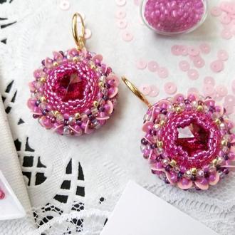 Серьги бубочки Розовые Swarovski