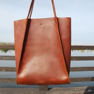 Коньячная кожаная сумка для женщин с22 (10 цветов)