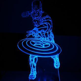 Капитан америка, ночник светильник лед лампа, супергерои, герой, подарок для мальчика, дизайн