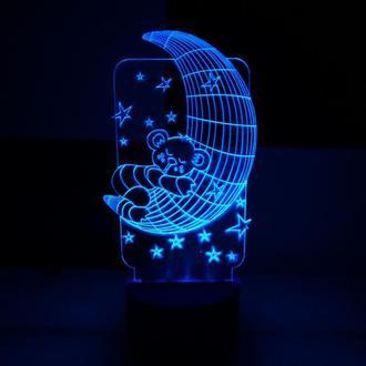 Мишка на луне, ночник акриловый светильник, лампа, игрушка, освещение в детской, луна, звезды