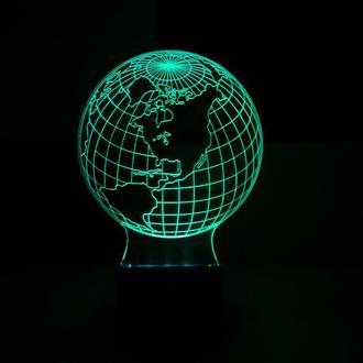 Глобус (Америка), ночник, светильник, лампа, несколько подсветок, подарок путешественнику