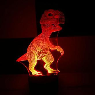 Динозаврик, ночник акриловый, лампа, светильник, динозавр, необычный подарок, декор, освещение