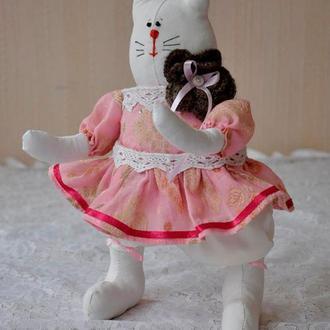 Кошка тильда в платье, мягкая игрушка кошка, игрушка кошечка