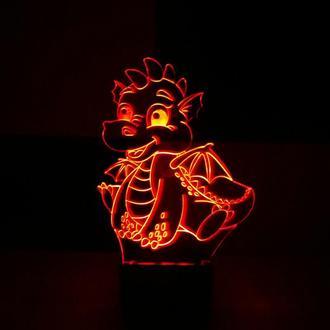 Дракоша, ночник акриловый, лампа, светильник, дракончик, дракон, несколько подсветок, подарок