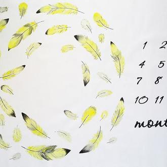 """Фотопеленка РУЧНОЙ работы для малыша """"Серебристо-лимонные перья"""""""
