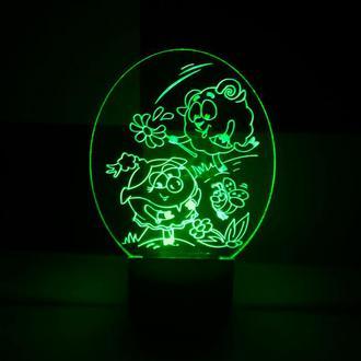 Бараш и Нюша, 3d акриловый ночник, светильник, LED лампа, смешарики подарок на день рождения детский