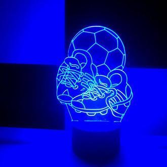 Мяч и бутсы, светильник акриловый, ночник 3d, LED лампа, подарок футболисту, мужчине, мальчику