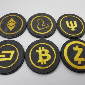 Набор подставок под чашку криптовалюты из бетона - черные с золотым