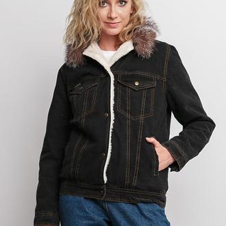 Куртка джинсовая женская с песцом DASTI Denim блэк