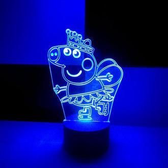 Ночник Пеппа на коньках, светильник, LED лампа, игрушка, свинка пепа, подарок ребенку, девочке декор