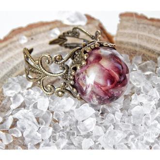 Кольцо с цветком гелихризума, Кольцо из эпоксидной смолы, Королевское кольцо бронзового цвета