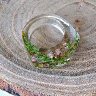 Кольцо из эпоксидной смолы с сухоцветом вереска, прозрачное кольцо, подарок для девушки