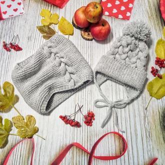 Зимняя шапка и снуд на девочку,детский зимний комплект,зимняя шапка на девочку