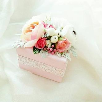 Свадебная шкатулка Шкатулка для колец Шкатулка для украшений Коробка Шкатулка с цветами Сундучок