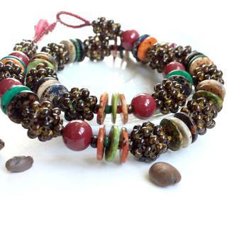 Бусы - ожерелье - украшение из бисера и натуральных бусин. Намисто з бісеру та дерев'яних намистин.