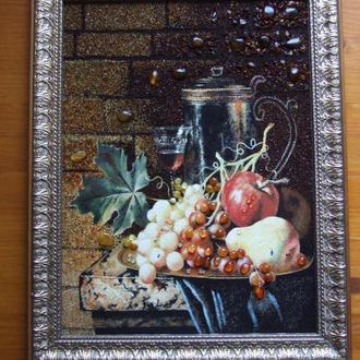 Картины из янтаря. Картина з бурштину (натюрморт с фруктами ), подарок