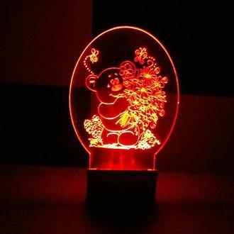 Ночник Медвежонок с цветами, светильник лампа, детский подарок, интерьер, декор детской, для девочки