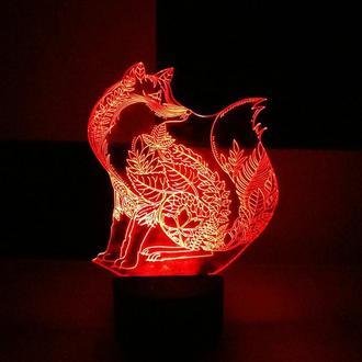 Ночник Лисица, светильник, LED лампа, подарок, на день рождения, сувенир, декор, интерьер