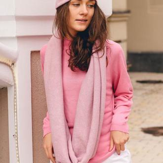 Шапка и снуд розовый