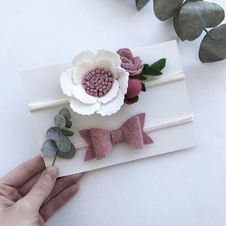 Набор повязок для девочки, розовый и белый