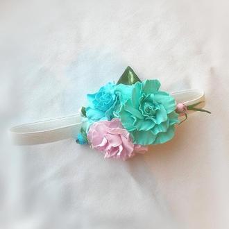 Повязка - резинка на голову с цветочками