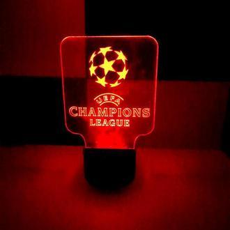 Светильник ночник Лига Чемпионов, футбол, подарок, для мальчика, для мужчины, спорт, сувенир, декор