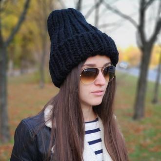 зимняя теплая шапка из крупной пряжи меринос шерсть мериноса от Bregoli design